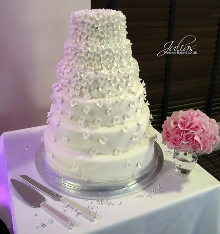 This Hydrangea wedding cake was created for the bride as it is her favorite flower.  All the petals are handmade and dusted and are entirely edible.  The 6-tiers are a combination of Chocolate, Fruit and Lemon cakes.